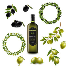 Olive Set With Wreath Isolated White Background