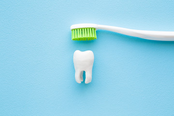 White tooth and toothbrush with green bristles on pastel blue background. People teeth hygiene. Closeup.