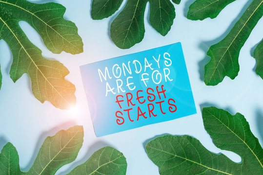 Word writing text Mondays Are For Fresh Starts. Business photo showcasing Begin again every week have a good morning