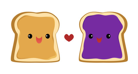 Vector illustration of a slice of bread with peanut butter and a slice of bread with jelly