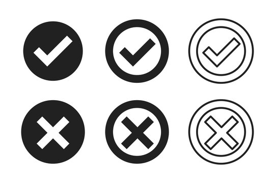 Black check cross isolated vector icon in modern style on white background. Tick icon. Black check mark icon. Test question.