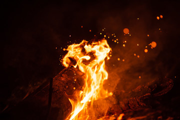 Beautiful abstract background on the theme of fire, light and life. Burning red hot sparks fly from large fire in the night sky. Burning embers glowing flying over black background.