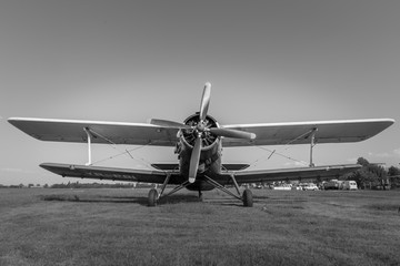 Old plane parked in the field