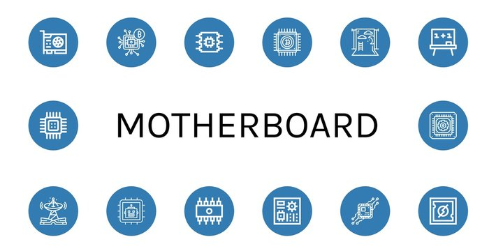 Set of motherboard icons such as Video card, Microchip, Cpu, Backdrop, Board, Technology, Rom, Motherboard , motherboard