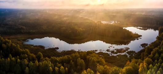 Wildecker Teiche in der Südheide im Herbst bei Sonnenaufgang / Wildeck ponds near Eschede in lower saxony with autumn colors at sunrise