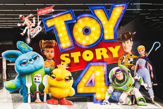 Bangkok, Thailand - Jun 17, 2019: Toy Story 4 movie backdrop display with cartoon characters in movie theatre. Cinema promotional advertisement, or film industry marketing concept