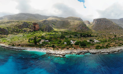 Drone View of a typical coastline of Sicily in Zingaro Natural Park, between San Vito lo Capo and Scopello, Trapani province, Italy