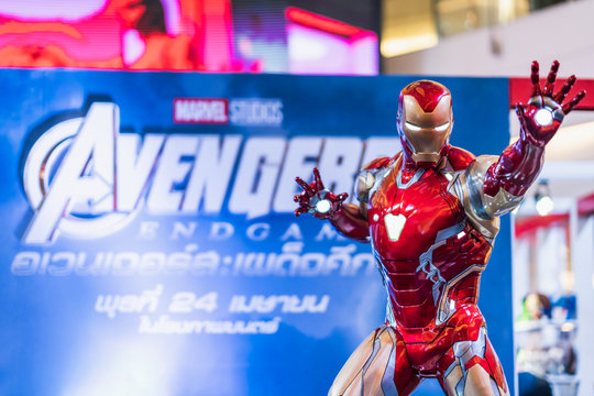 Bangkok, Thailand - Apr 25, 2019: Life-sized Iron Man model show in Avengers Endgame exhibition booth. Movie promotional advertisement event, or film industry marketing concept