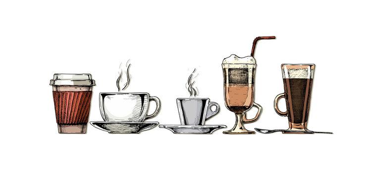 Vintage illustration of coffee set.