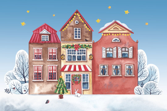 Watercolor christmas illustration. Homes in Amsterdam decorated for Christmas.