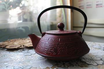 beautiful cast iron kettle to make tea