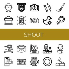 Set of shoot icons such as Soccer player, Potting soil, Puck, Camera, Archer, Shooting gallery, Hockey stick, Video camera, Sprout , shoot