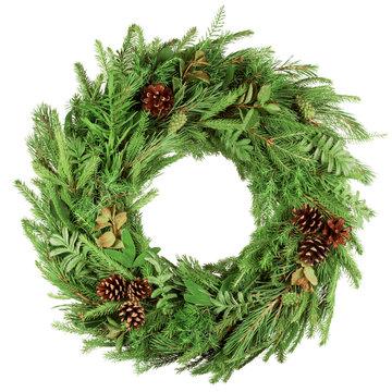 christmas wreath, isolated on white background