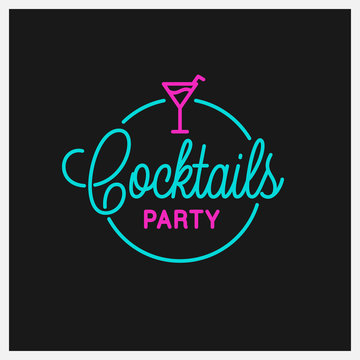 Cocktail party logo. Round linear logo of cocktail
