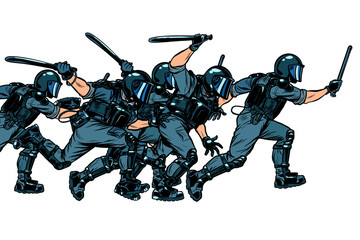 Police squad. authoritarian and totalitarian regimes concept