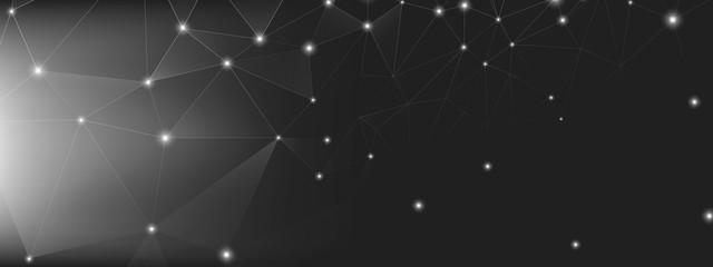 Data Tech Concept. Gray Science Wallpaper. Black