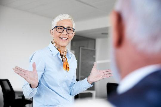 senior busniess people talking office communication