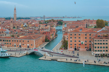 Arerial panorama of entrance of Venice Arsenale