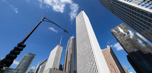 Panoramic view with buildings in Chicago