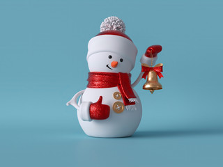 3d Christmas snowman standing, holding golden bell. Winter holiday clip art isolated on blue background. Funny festive character.