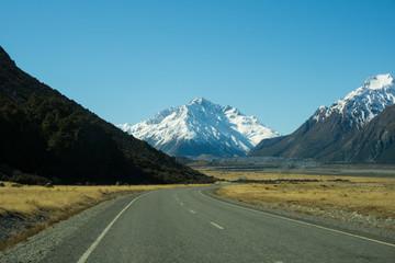 Keuken foto achterwand Nieuw Zeeland road lake pukaki mt cook new zealand