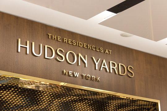 NEW YORK, USA - 17 MAY, 2019: Hudson Yards residences sign in New York Manhattan