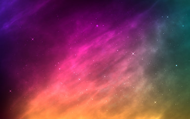 Space background with stardust and shining stars. Realistic cosmos and color nebula. Planet and milky way. Colorful galaxy. Bright cosmic backdrop. Vector illustration