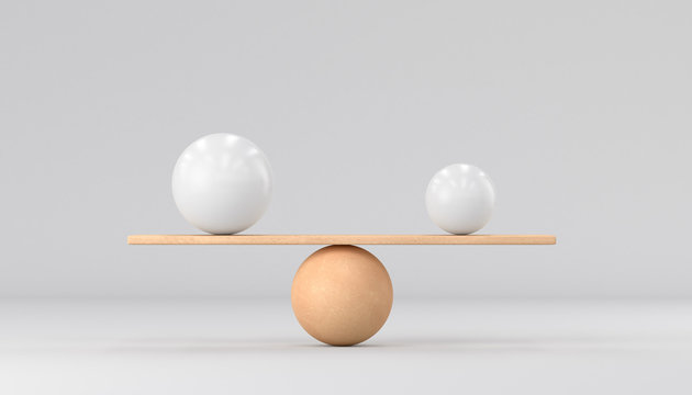 Wooden scales and two spheres on a white background. Small and big. 3d render illustration.