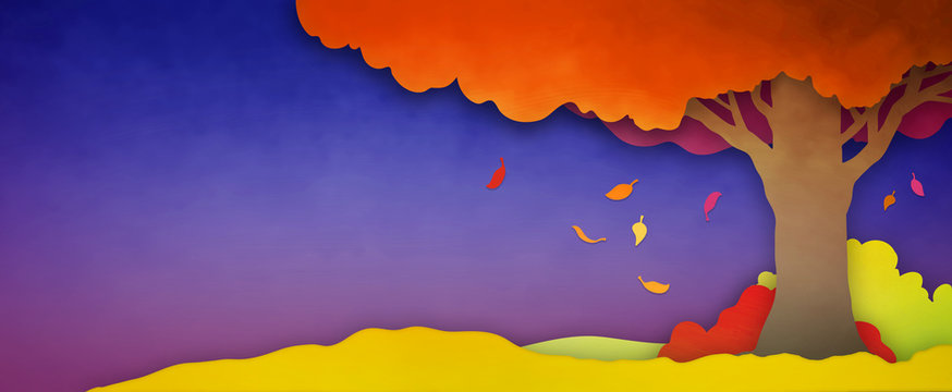 Autumn or fall season background landscape with falling leaves from colorful tree in orange yellow red and pink colors on purple blue background texture. Silhouette nature design illustration.
