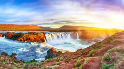 Fantastic sunrise scene of powerful Godafoss waterfall. Fototapete