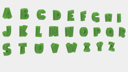 3d perspective alphabet with texture. 3d rendering - illustration