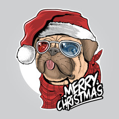 PUG PUPPY DOG SANTA CLAUS CHRISTMAS CUTE FACE ARTWORK VECTOR
