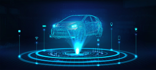 Hologram auto, futuristic polygonal model auto. Smart auto ai.  Wireframe in line low-poly style. Smart automobile. Vector illustration in futuristic style