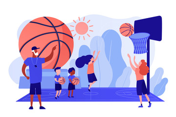 Coach teaching and kids practicing basketball in summer camp, tiny people. Basketball camp, academy, achieve basketball goals concept. Pinkish coral bluevector isolated illustration