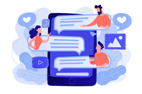 Tablet with users communicating and speech bubbles. Global internet communication, social media and network technology, chat, message and forum concept, violet palette. Vector isolated illustration.
