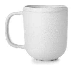 Ceramic cup on white background