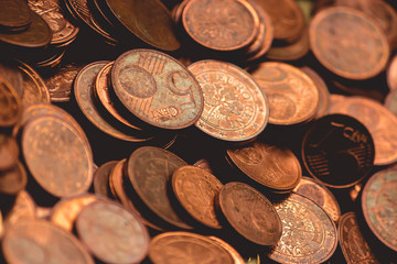 Euro (EUR) coins from various countries useful as a background– stock image