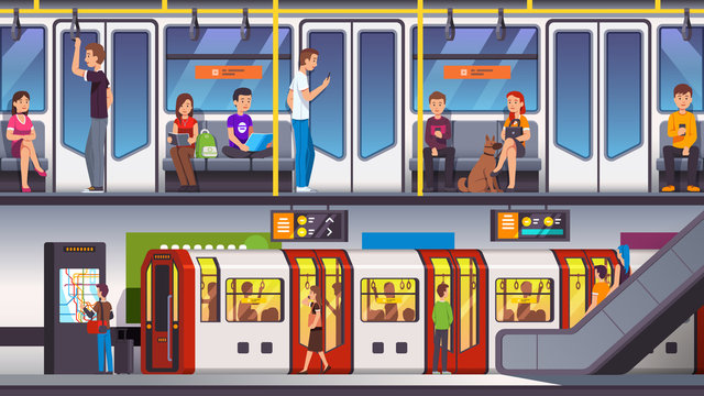 City underground subway transit station with train