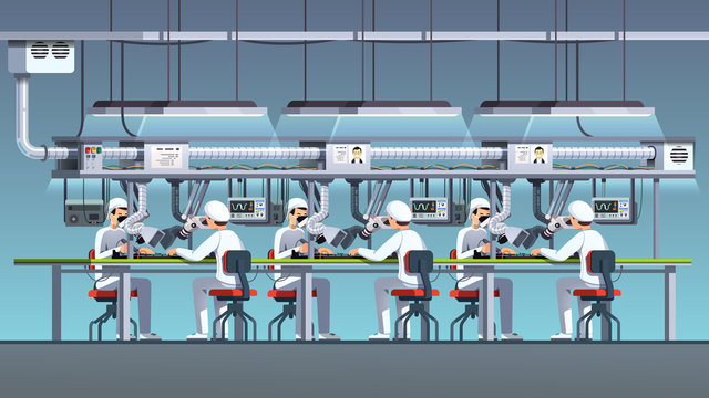 Electric pcb factory assembly line with irons