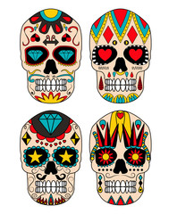 Day of the dead colorful sugar skull. Mexican sugar skull. Vector illustration.