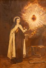 PALMA DE MALLORCA, SPAIN - JANUARY 29, 2019: The painting of St. Teresa of Avila in the church Iglesia de Santa Maria Magdalena