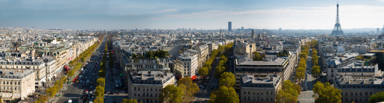 Cityscape of Paris with the Eiffel Tower and apartment buildings aerial view