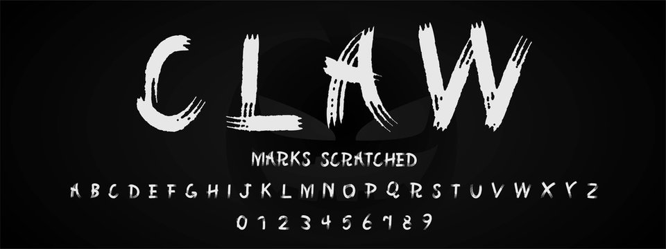 Claw marks scratched alphabet font and number.