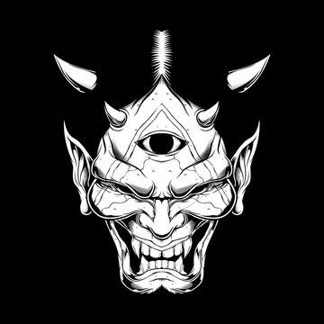 grunge style Cartoon demon face satan or Lucifer with horns