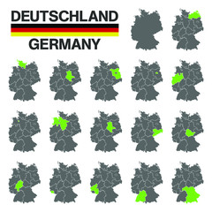 Deutschland - Karte - 16 Bundesländern - Vektor Set - Grün