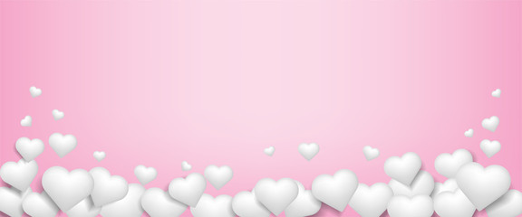 Illustration of love.White hearts on abstract pink background.Vector symbols of love for Happy Mother's. Valentine's Day.Birthday greeting card design.