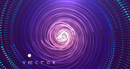 Array with dynamic particles. Swirl with connected dots. Abstract science or technology background. 3d vector illustration. Fotoväggar