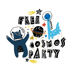 Animals astronauts wearing space helmet floating in outer space. Isolated vector images for your greeting cards and invitations. Birthday party in cosmic style.