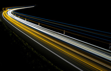 lights of cars with night. abstraction of light trails Fotomurales