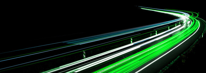 Papiers peints Autoroute nuit lights of cars with night. abstraction of light trails